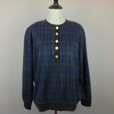Vintage Cathy Daniels Knit Top Womens Large Plaid Green Blue