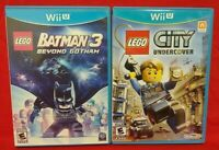 LEGO Batman 3 + LEGO City Undercover - Nintendo Wii U 2 Game Lot Tested Works
