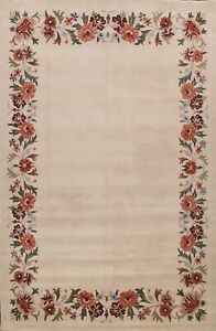 Bordered Transitional Oriental Area Rug IVORY Hand-tufted Wool Carpet 10x13 FT