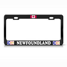 CANADIAN FLAG NEWFOUNDLAND BLACK Metal License Plate Frame CANADA Tag Border