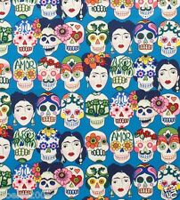Fabric by the Yard Alexander Henry Gotas de Amor Blue Day of the Dead Skull