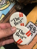 """2x The Best """"The Best"""" Vintage Pinback Button MCM 70's Style 2.25"""" NG Slater NYC"""