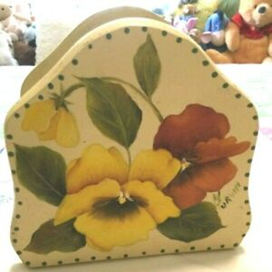 Handmade Shabby Chic Wooden Napkin Holder with Floral Design