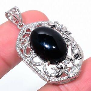 "Brazilian Black Onyx & Cz 925 Sterling Silver Jewelry Pendant 1.6"" T2777"