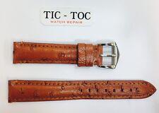 18 mm vera pelle cinturino marrone argento placcato, Fibbia UK Venditore