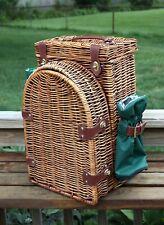 Vintage Wicker Rattan Picnic Basket Wine Carrier Hamper BackPack