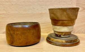 Vintage Turned Hardwood Collapsing Travel Cup.