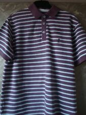 'EASY' BROWN AND WHITE STRIPED SHORT SLEEVED POLO TOP - SIZE LARGE - EXC. COND.