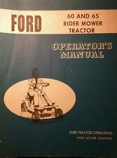 Ford 60 & 65 Lawn Riding Mower Tractor Owners Manual 20pg Jacobsen RER Rear Eng