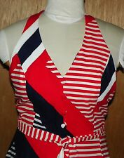 Vintage Malia Honolulu Red White Blue Striped Halter Dress with Bra Top Size 14