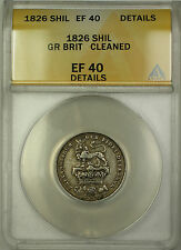 1826 Great Britain Silver Shilling Coin ANACS EF-40 Details Cleaned