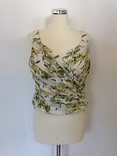 MINUET GREEN & WHITE FLORAL PLEATED BODICE SILK TOP SIZE 14