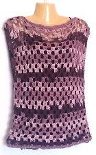Womens Sweater Crochet Purple Boho Hippie Sleeveless Soft Top XS S M Handmade