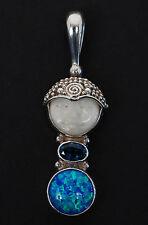 Beautiful Sajen Goddess FACE PENDANT/Necklace Sterling Silver Topaz Black Opal
