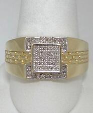Hombre 10 Quilates Oro Amarillo .15ct Diamante Cuadrado Pantera Diseño Meñique