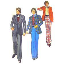 Vtg 70s Simplicity 5765 Mens Unlined Sports Coat Wide Leg Pants Mod Disco 42C