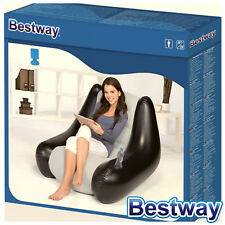 Bestway Perdura Inflatable Air Chair Ideal Indoor or Outdoor Use Black Grey