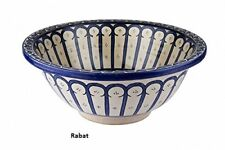 Rabat blue Ceramic Hand painted Moroccan Bathroom Basin , Painted inside out