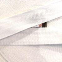 25mm White Herringbone Cotton Webbing Tape Sew Strap Bag Trim X 2 Mtrs