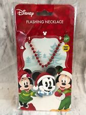 """Disney Holiday Christmas Mickey Mouse Head Flashing Necklace 27"""""""