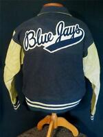 "VERY RARE 1950'S BLUE WOOL AND LEATHER ""BLUE JAYS"" STADIUM JACKET SIZE LARGE"