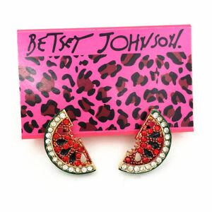 Betsey Johnson Crystal Enamel Watermelon Fruit Charm Ear Stud Women's Earrings