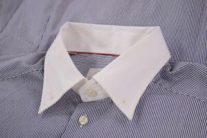 Eton Dress Shirt Sz 15.75 40 Slim Fit Blue & White Stripe White Collar Bar / Pin