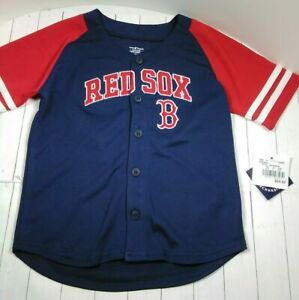 Official Major League Baseball Genuine Merchandise Red Sox Button Up Jersey 3T