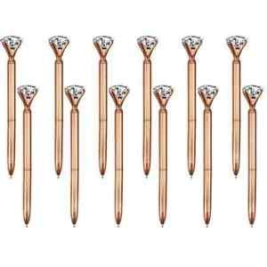 1 x  Big Crystal Diamond Rose Gold Ballpoint Pen Black Ink