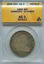 1806 50C Draped Bust Heraldic Eagle Half Dollar ANACS AG 3 Details