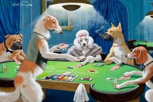 Best Gift Home Art Wall Decor Dogs  Playing Poker Oil Painting Printed On Canvas