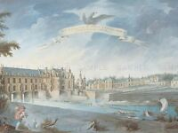 NICOLAS MARIE OZANNE FRENCH CHATEAU CHENONCEAUX OLD ART PAINTING POSTER BB4974A