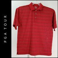 PGA Tour Men's Career Formal Striped Short Sleeve Polo Golf Shirt Medium Red