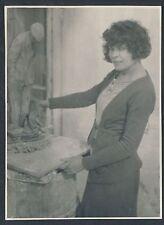 1932 BEATRICE ROSENHOUSE, Los Angeles Scuptor WORK IN STUDIO Vintage Photos (2)