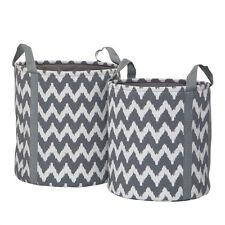 Chevron Set Of 2 Storage Bags Polyester/Cotton/Rayon Grey/White Storage New