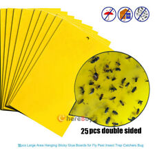 25x Fly Trap Sticky Flies Paper Strong Bugs Board Catching Insects Pest Killer
