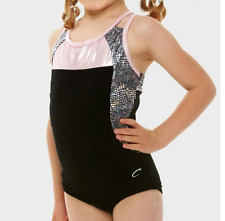 Black and Pink Capezio 10292c gymnastics/dance leotard -Child M  Age 7-8