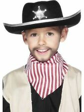 Child Boys Sheriff Black Felt Cowboy Western Wild West Fancy Dress Costume Hat