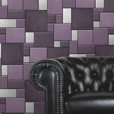 Purple Tile Wallpaper Kitchen and Bathroom Tiling on a Roll F95706 Blown Vinyl