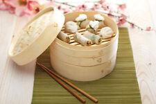 Vaporiera in legno di bambù cottura a vapore 2 cestelli cesto con coperchio
