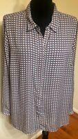 Roz & Ali Women's Beige Multi-Color Roll Up/Long Sleeve Blouse Plus Size 2X