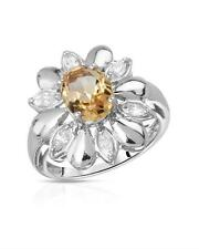 STUNNING GENUINE CITRINE SOLID 925 STERLING SILVER COCKTAIL RING - 8 / Q