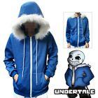 Game Undertale Sans Hoodie Sweatshirt Hooded Zipper Jacket Coat Cosplay Costume