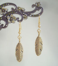 Pretty Golden Feather Charm Drop Earrings - Ethnic Boho