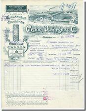 Facture - Chocolat Cardon - Duvergner & Cie à Cambrai 1928