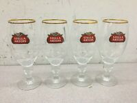 Stella Artois 50 CL Gold Rimmed Chalice Beer Glasses - SET OF (4) FOUR