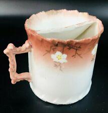 "Vintage Porcelain Mustache Cup / Coffee Mug white W flowers 3.5""H"