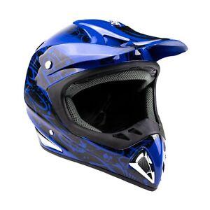 Blue Adult Motocross Helmet DOT Dirt Bike ATV Off Road ORV Motorcycle Typhoon
