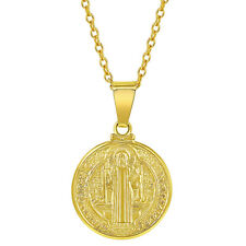 18k Gold Plated St Benedict Medal Prosperity Catholic Pendant Necklace 19""