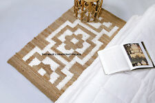 Hand Made Contemporary Modern Simple Braided Jute Area Rug in Natural Reversible